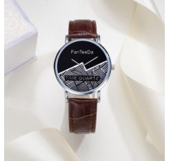 Fanteeda FD101 Men 40 MM Face Analog Quartz Leather Strap Wrist Watch