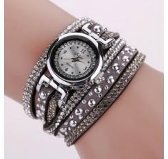 DUOYA D096 Women PU Leather Rhinestones Bracelet Wrist Watch