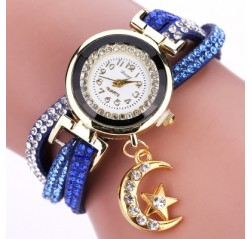 DUOYA D039 Arabic Numbers Rhinestones Leather Wrist Watch with Moon Pendant