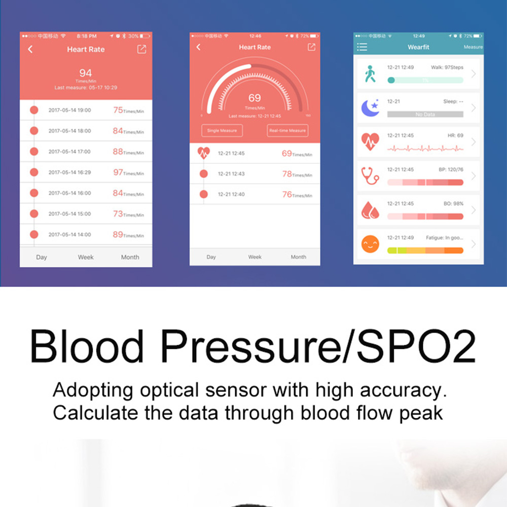 Color Screen Heart Rate Blood Pressure Oxygen Fatigue Intelligent Bracelet