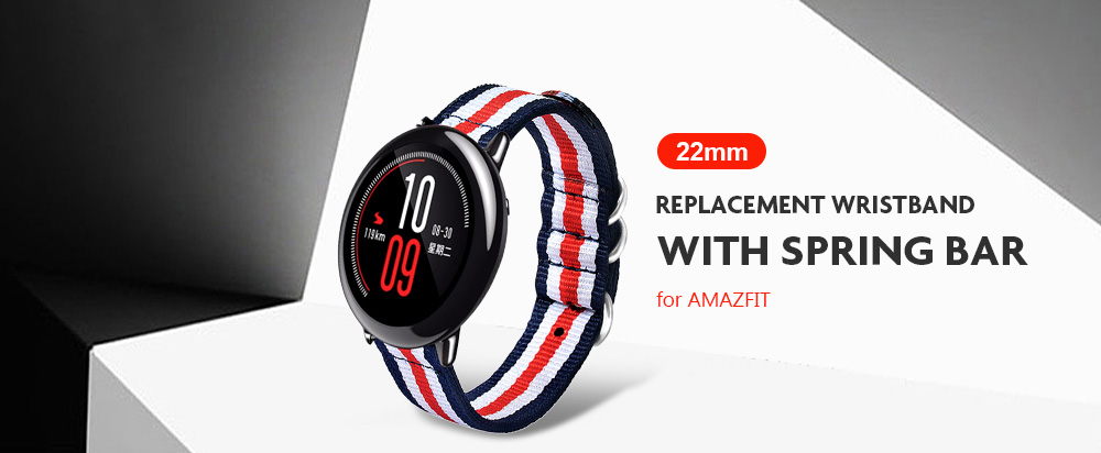 22mm Canvas Replacement Wristband Watch Strap with Spring Bar for AMAZFIT