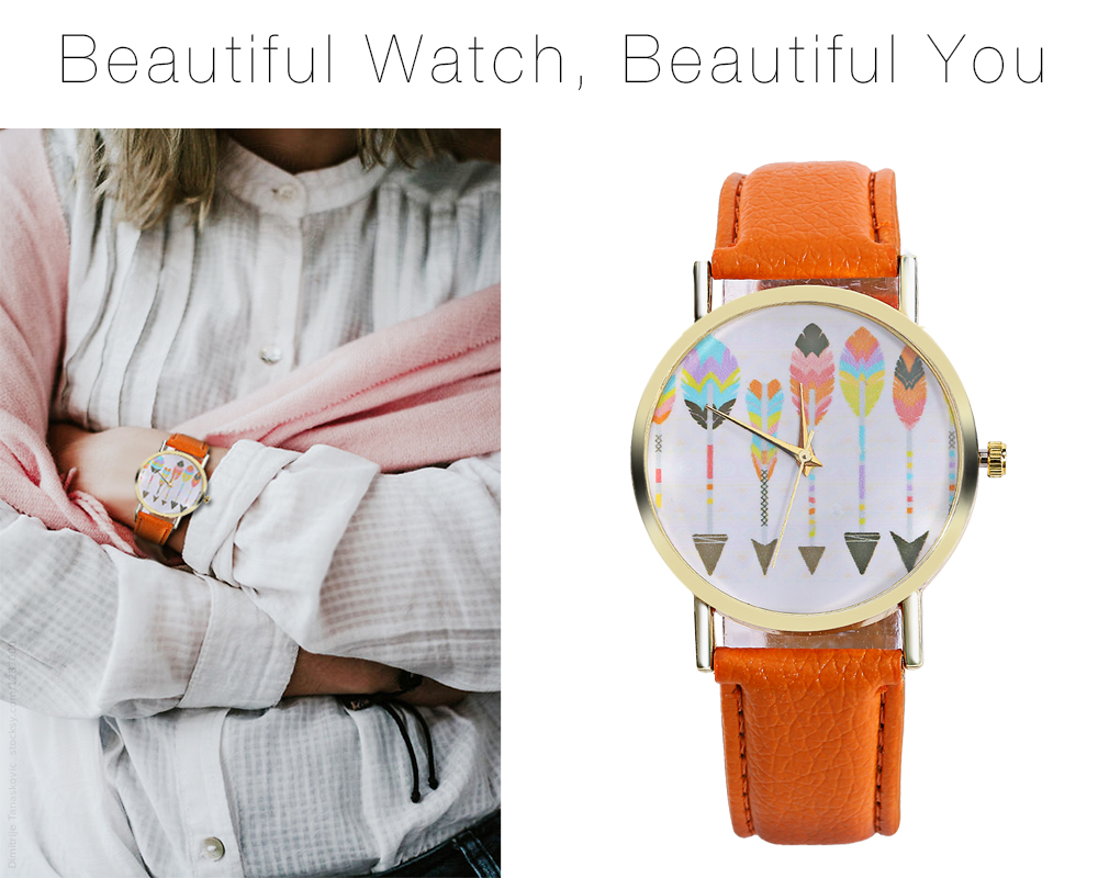 Female Plumage Pattern Dial Quartz Watch Leather Strap Wristwatch for Women
