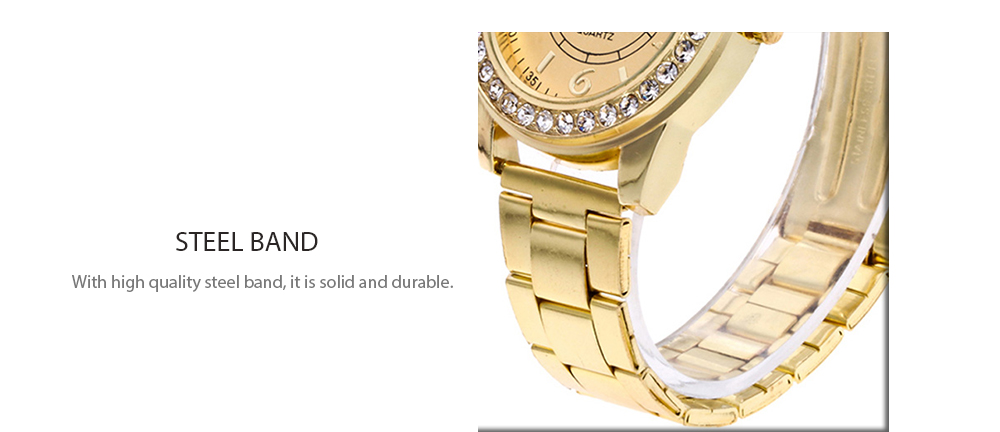Women Fashionable Steel Band Quartz Watch with Artificial Diamonds